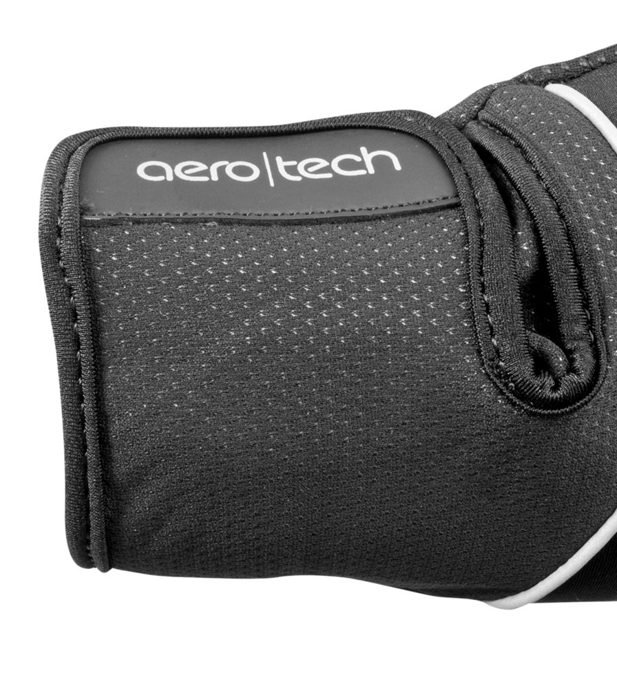 Black Windproof Full Finger Cycling Glove Cuff Detail
