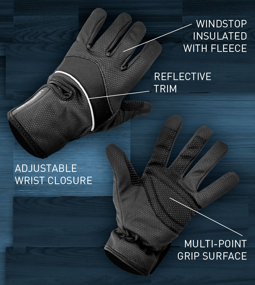Black Windproof Full Finger Cycling Glove Features