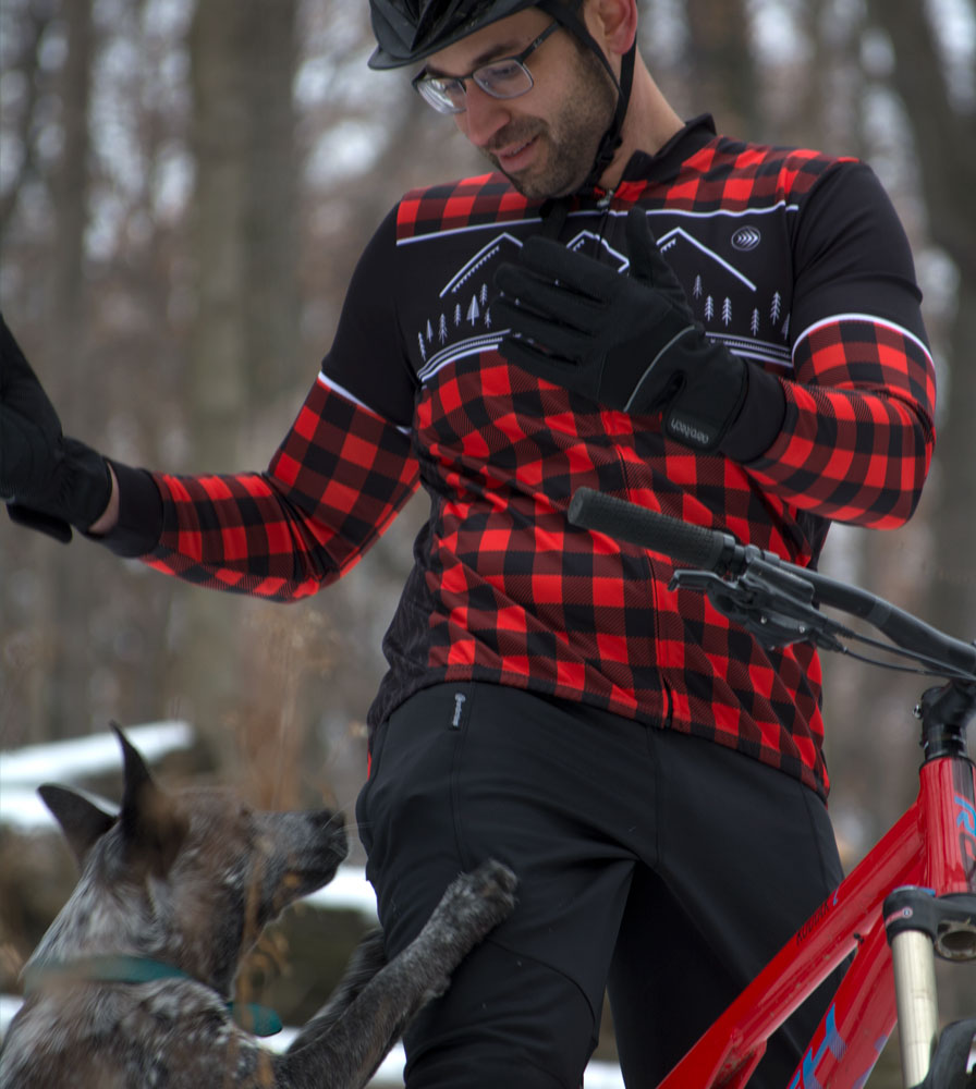 Black Windproof Full Finger Cycling Glove in action2