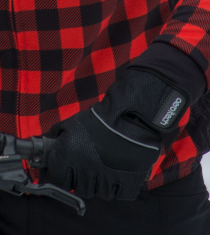 Black Windproof Full Finger Cycling Gloves in Action