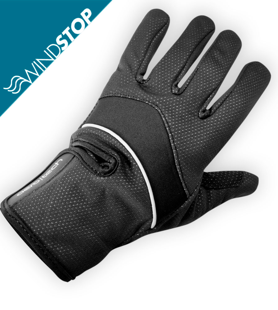 Black Windproof Full Finger Cycling Glove Fabric
