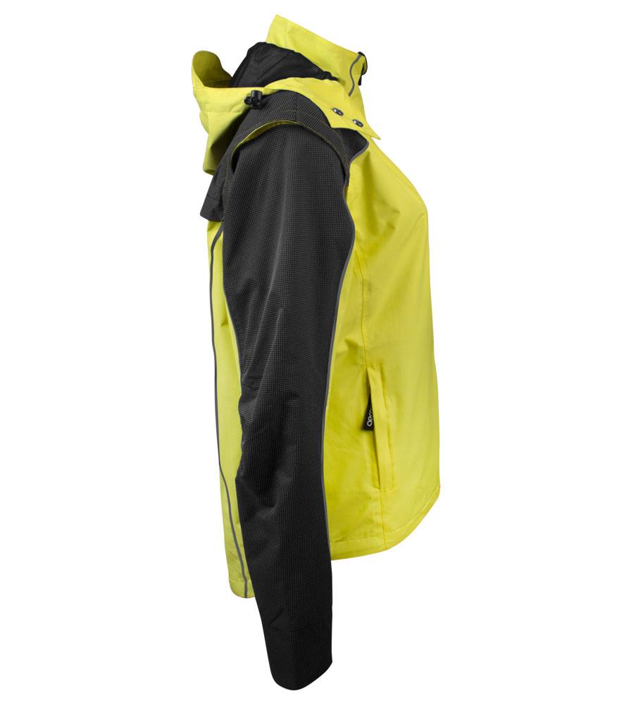 Women's Reflective Rain Jacket Side View