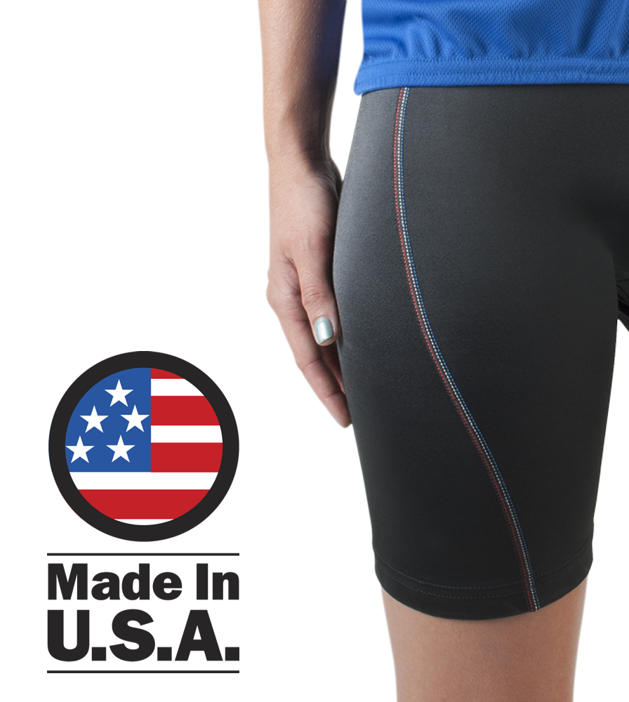 Women's All American Bike Shorts are designed and manufactured in the usa
