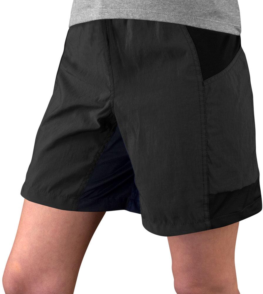 Women's Black USA MTB Shorts Front Model View