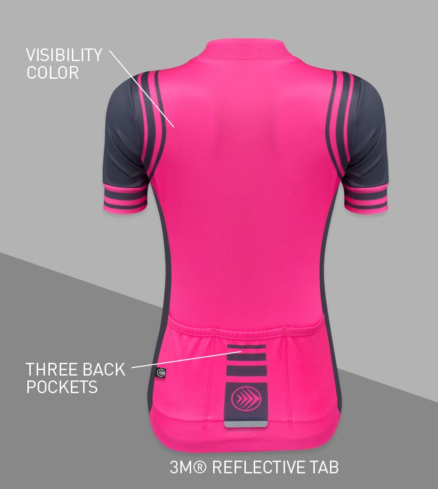 Women's Classic Fierce Pink Bike Jersey Back Features