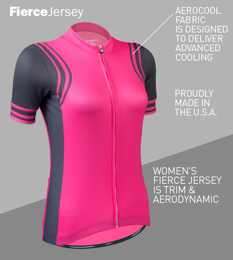 Women's Classic Fierce Pink Bike Jersey Front Features