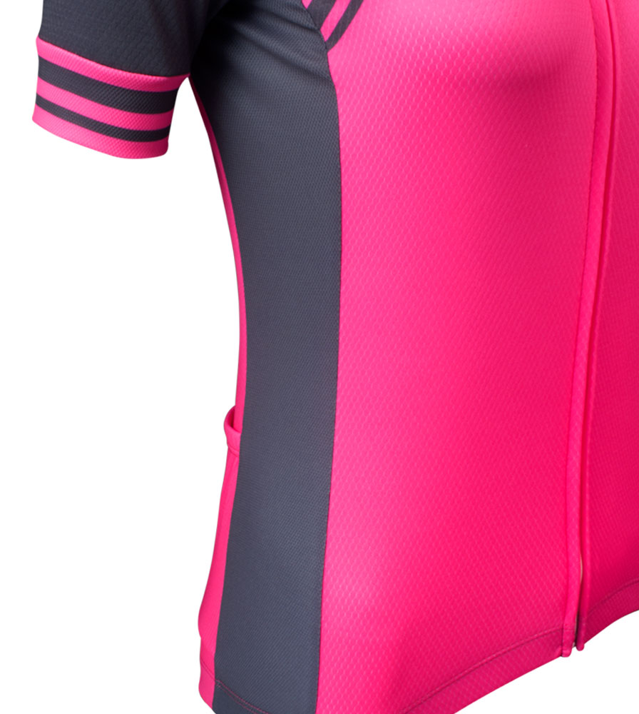 Side Panel Detail on the Women's Classic Fierce Pink Bike Jersey