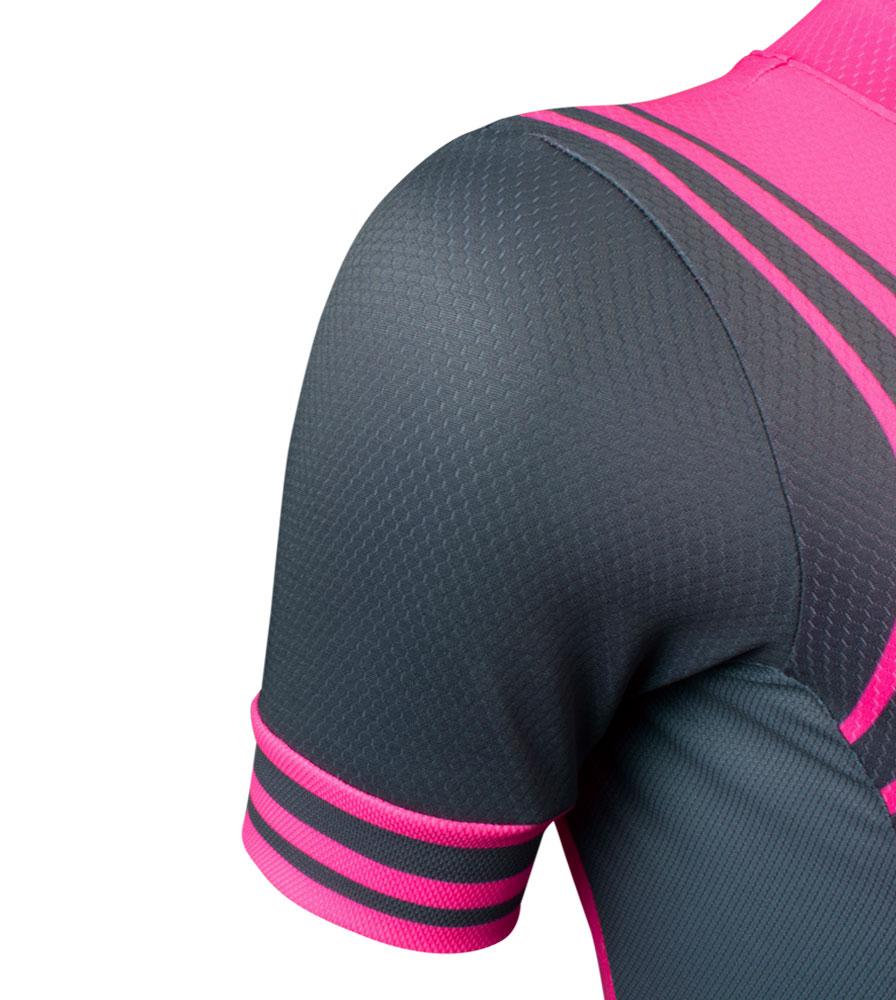 Sleeve Detail on the Women's Classic Fierce Pink Bike Jersey