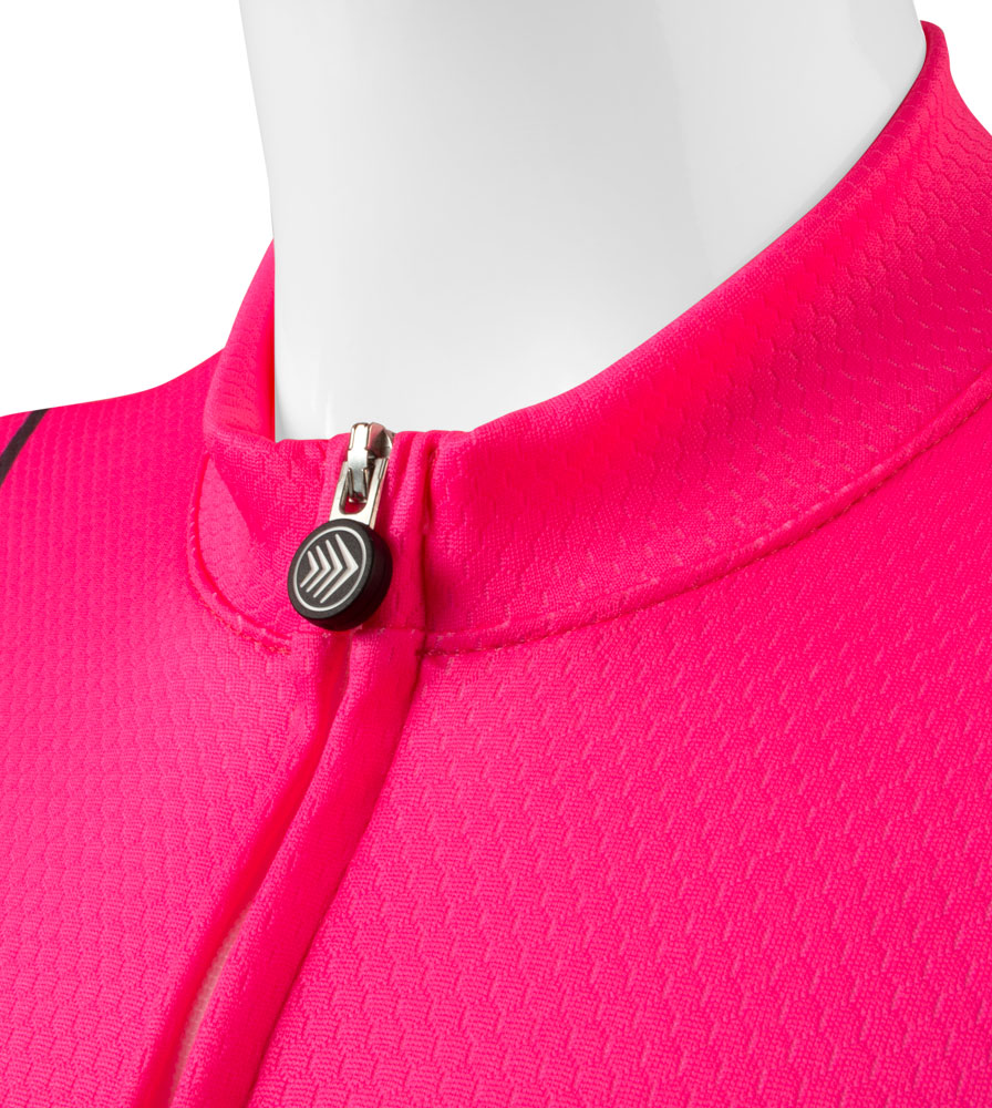 Collar Detail on the Women's Classic Fierce Pink Bike Jersey