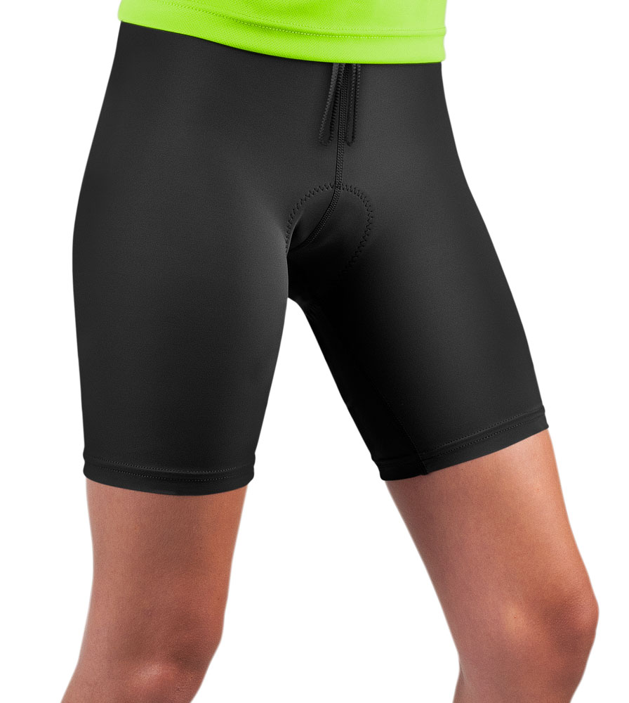Women's Plus Size Classic Padded Triathlon Shorts Black Modeled