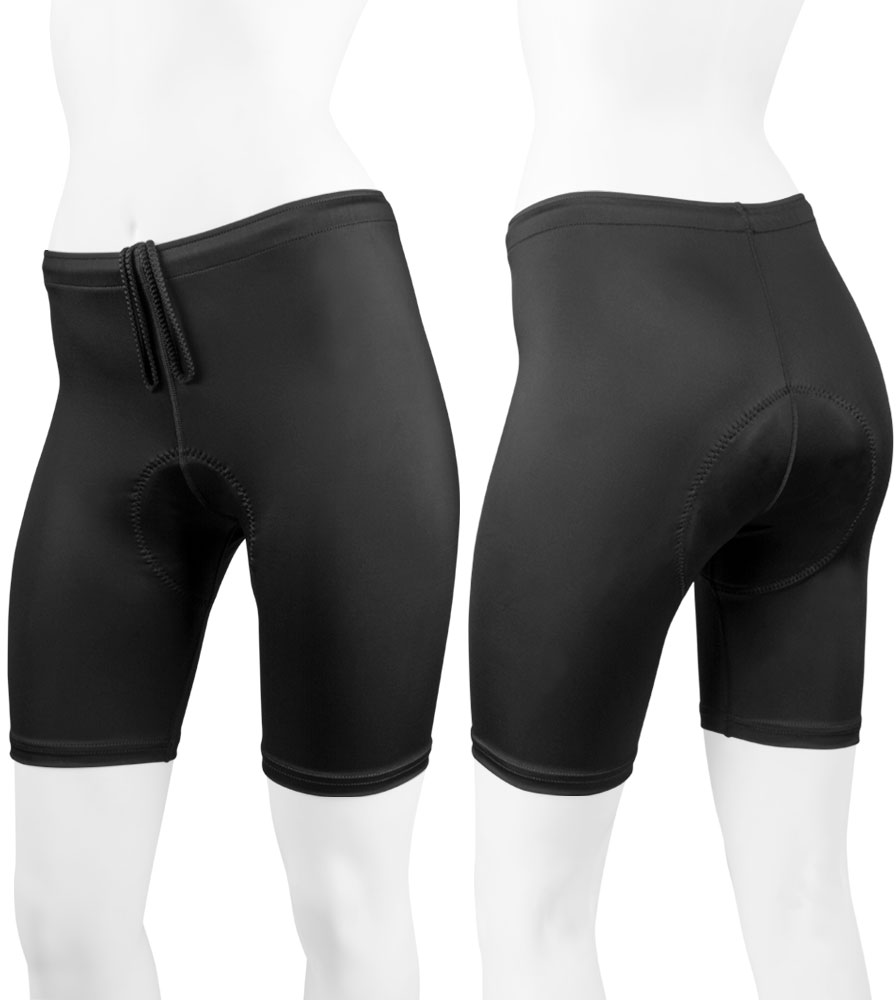 Women's Plus Size Classic Padded Triathlon Shorts Front and Back View