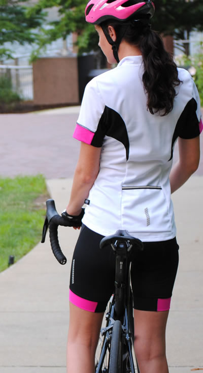 Women's Elite Cycling Jersey Pink and White Modeled Back View