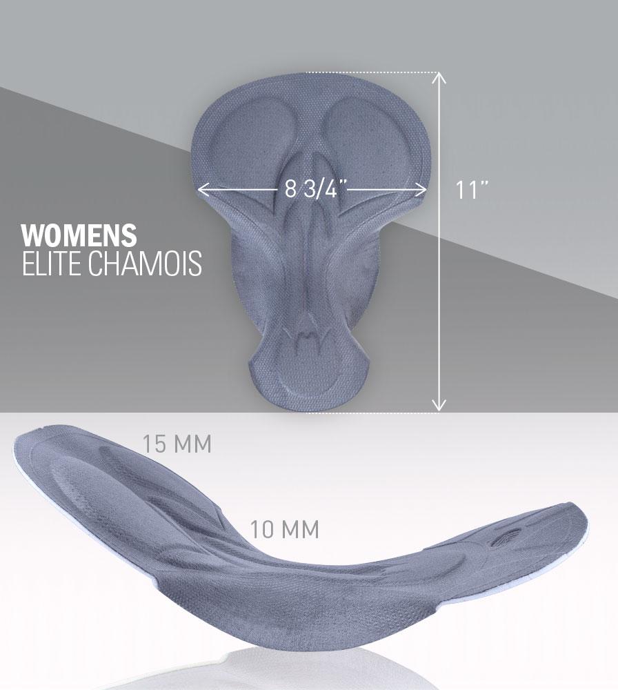Women's Elite Chamois Pad Dimensions