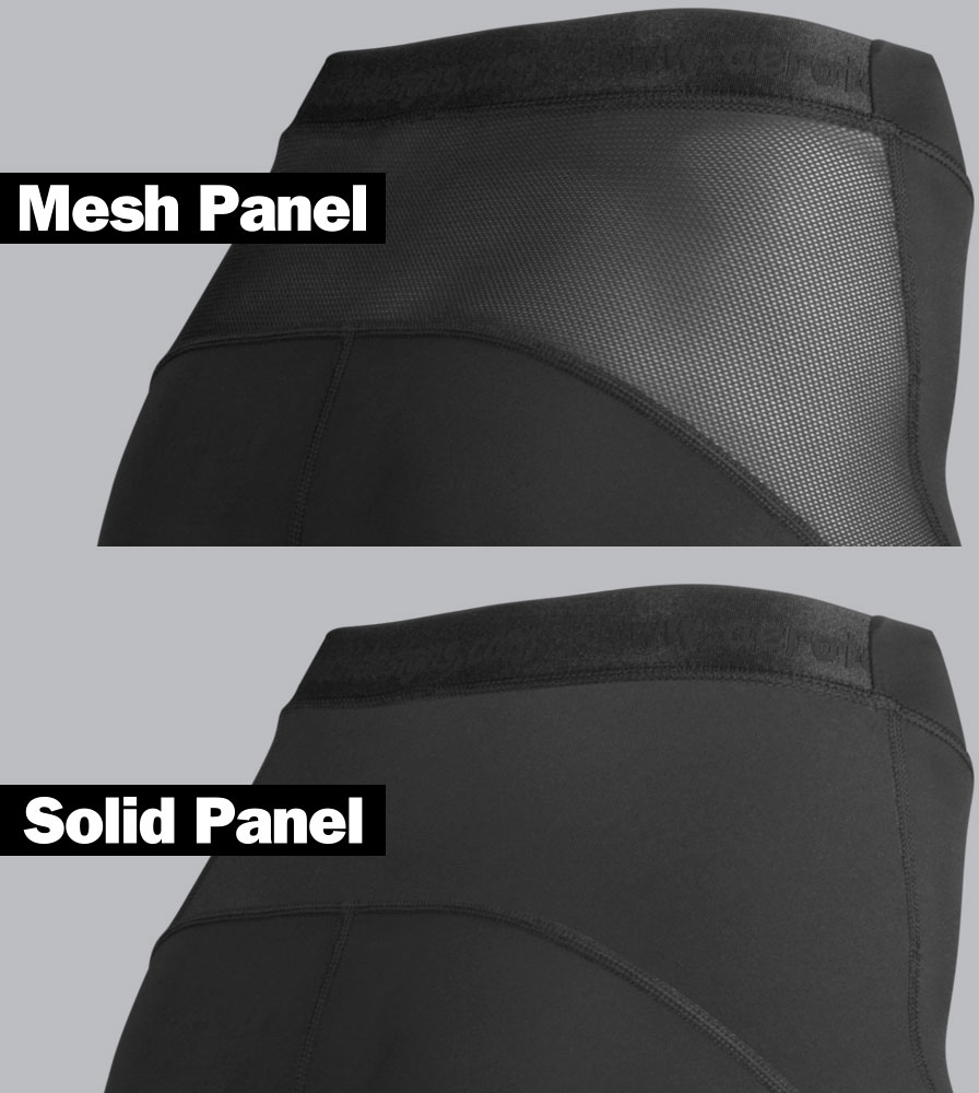 Women's Elite Padded Cycling Short Mesh and Solid Panel Detail