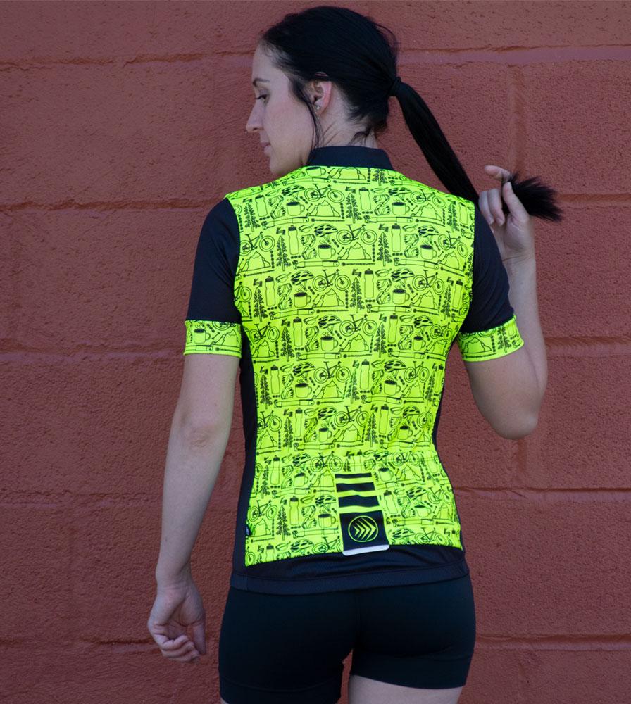 Women's Motivate Fierce Cycling Jersey Modeled Full Back View
