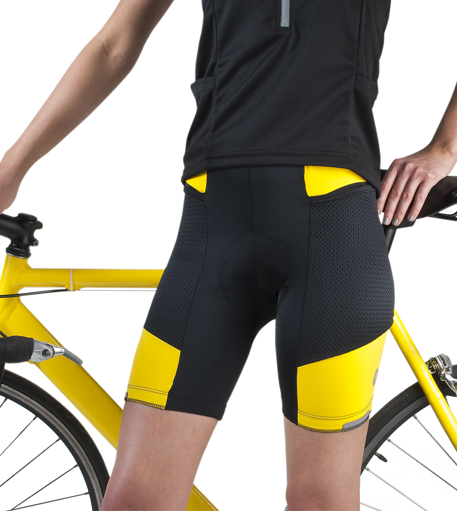 womens-geltouring-paddedcyclingshorts-yellow-frontwbike.png