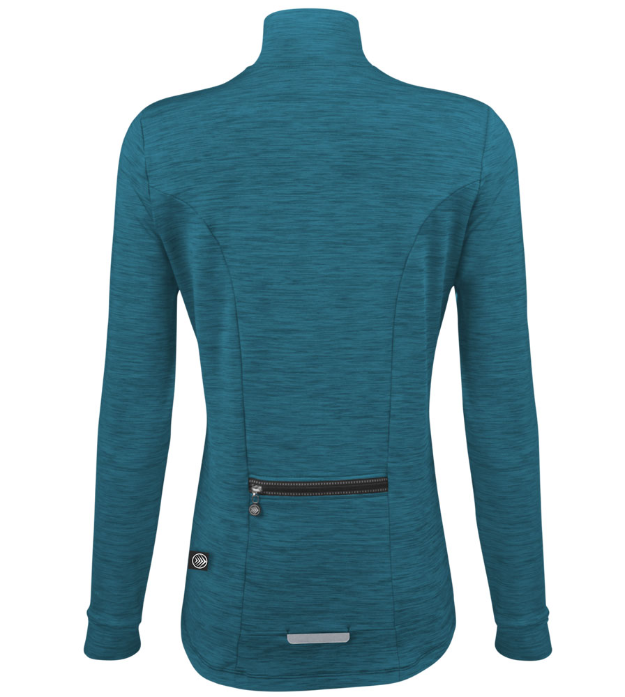 Teal Heather Tech Pull Over Full Back View