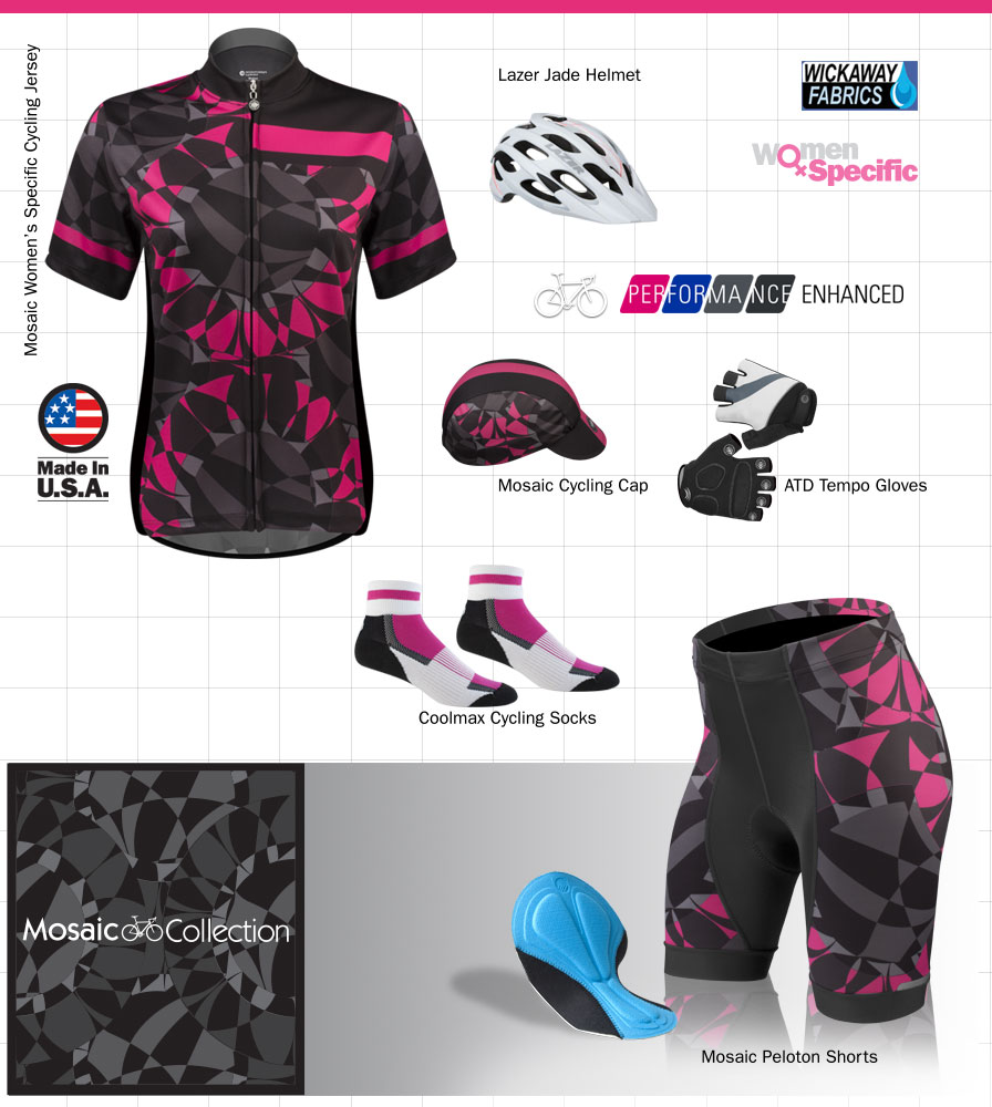 Womens Mosaic cycling Kit