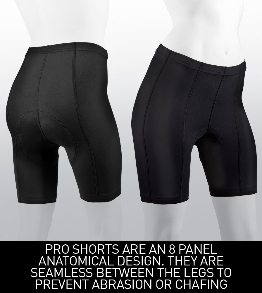Women's Pro Shorts are an 8 panel anatomical seamless design to prevent chafe