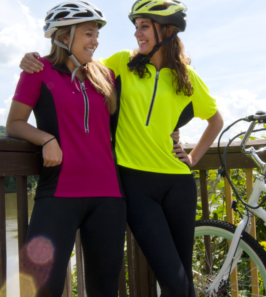 Women's Specific Bike Jersey in Safety Yellow and Magenta