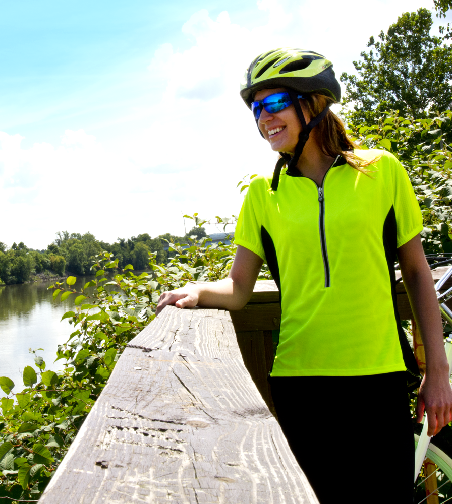Women's Specific Jersey Modeled in Safety Yellow