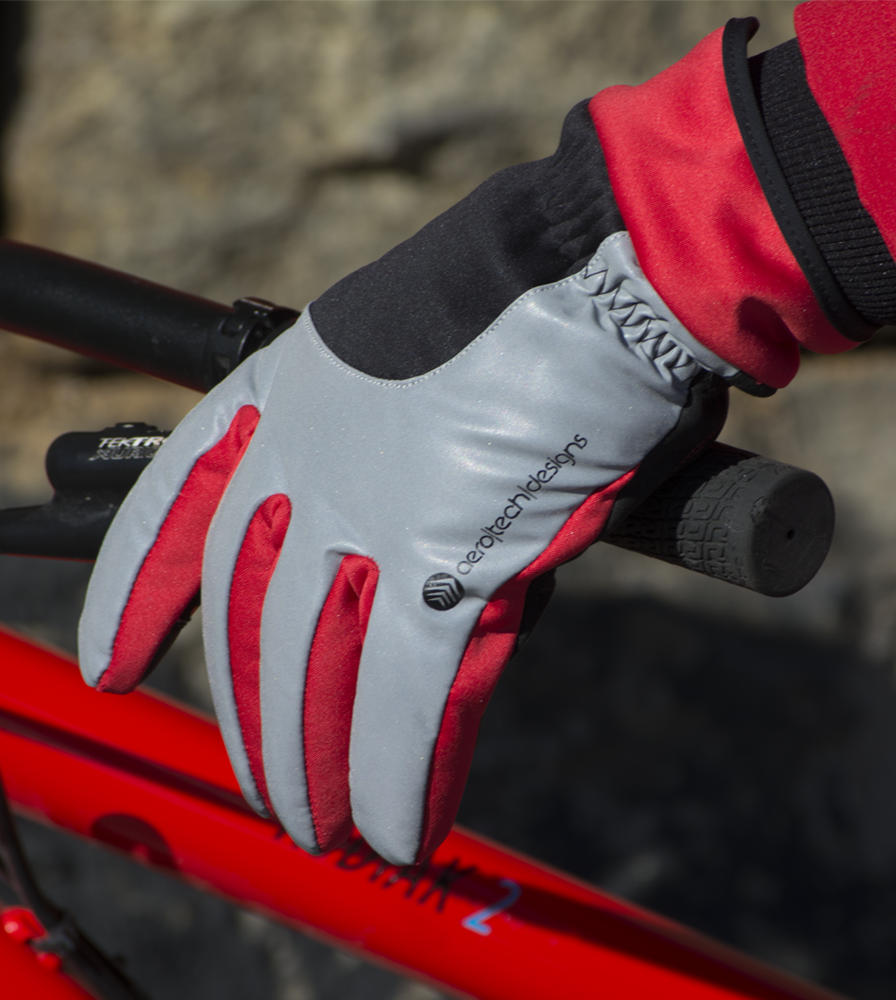 Red Winter Cycling Gloves with Padded and Reflective
