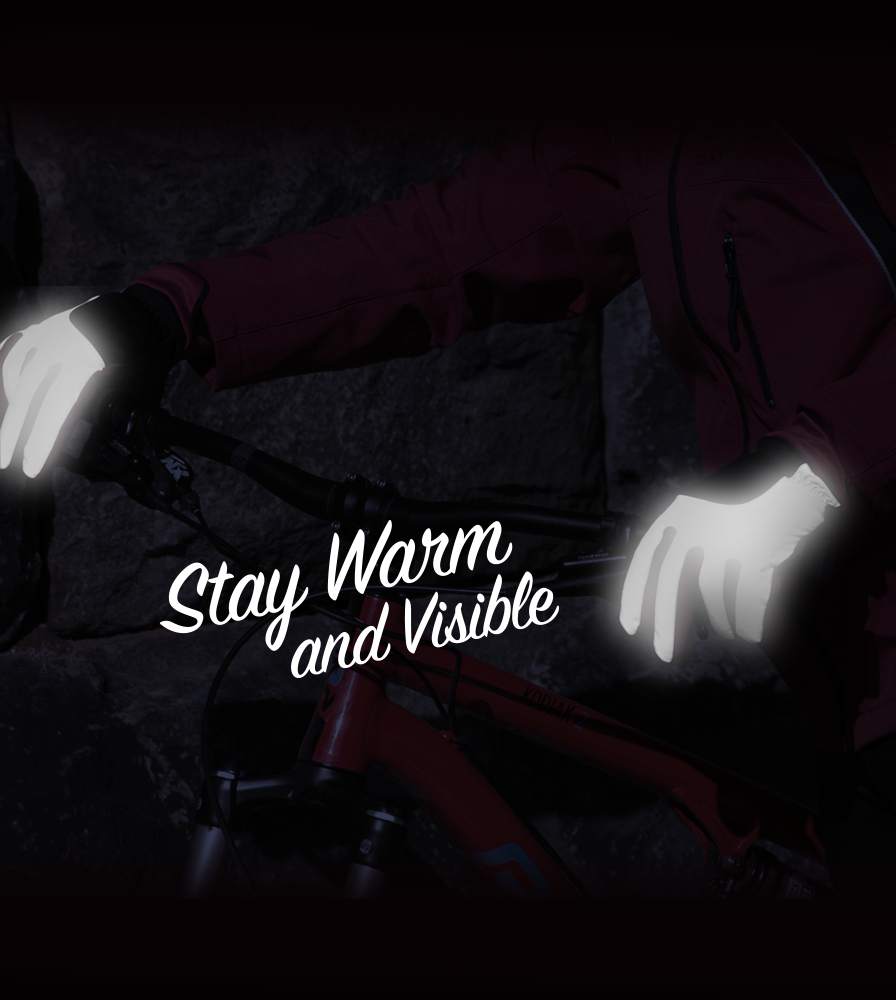 Stay Warm and Visible in our Reflective Cold Weather Full Finger Gel Padded Cycling Gloves