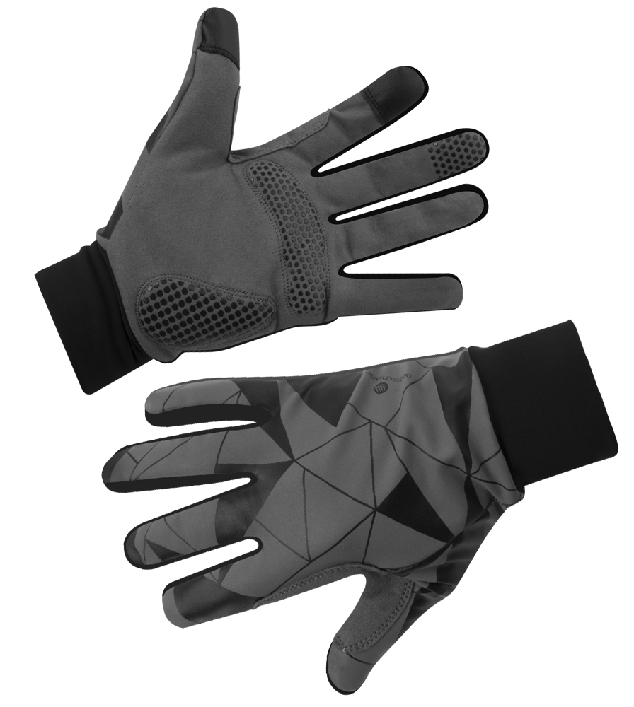 Urban Street Line Reflective Cycling Gloves in Black