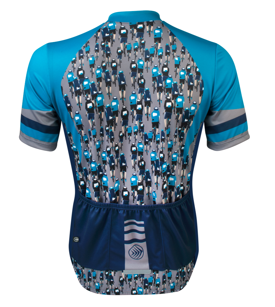 cycling jersey showing bicycle riders front and back in Teal, navy and gray
