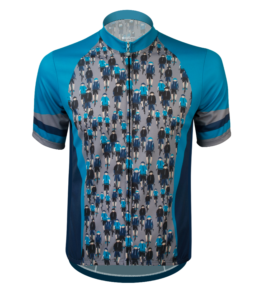 biker dudes cycling jersey in teal and navy