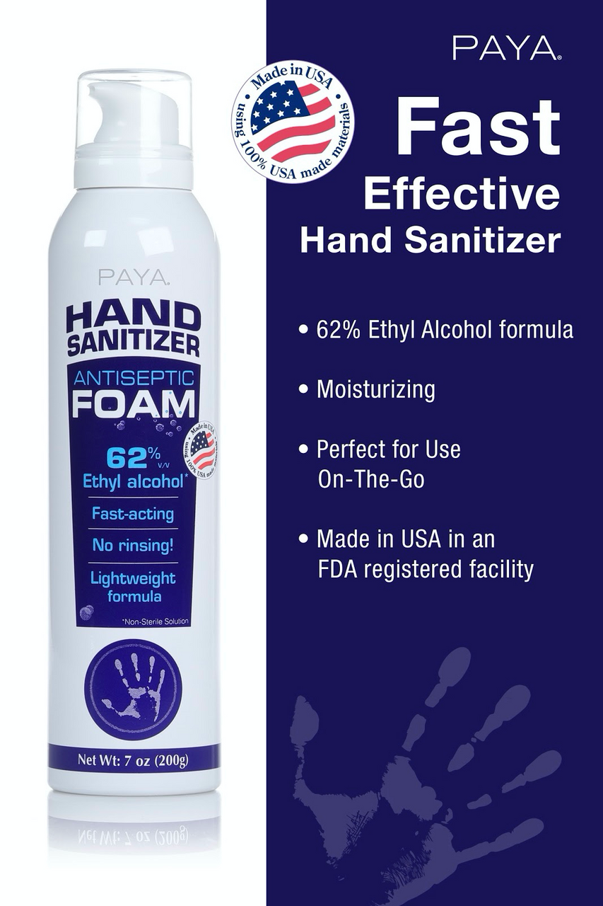 Domestically produced, fragrance free foaming hand sanitizer with hand conditioning agents for moisturizing.