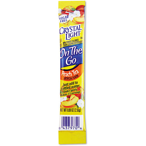 Enjoy the sweet taste of peaches with Crystal Light Peach Sugar Free Iced Tea Mix. This 98 percent caffeine-free Peach Iced Tea Mix is tasty and has no added sugar. Containing only 5 calories per serving, this Peach Iced Tea Mix is a smart alternative to sugar-filled sodas. The Crystal Light Iced Tea Mix in 6 2-qt packets can be used individually or to serve guests at parties. One box of the Crystal Light Peach Sugar Free Ice Tea Mix can make up to 12 quarts of iced tea.