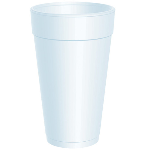 This Dart 20 oz. white foam cup is ideal for coffee, soft drinks, shakes, juice, tea, or water. It features a one-piece molded construction, distinctive pedestal, and space-saving design. Whether you like your drink hot or cold, this Dart 20 oz. white foam cup will keep drinks at their proper serving temperature.