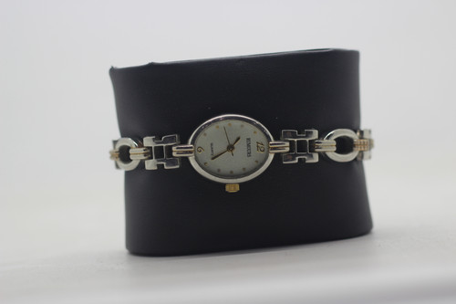 stainless steel watch with gold accents.