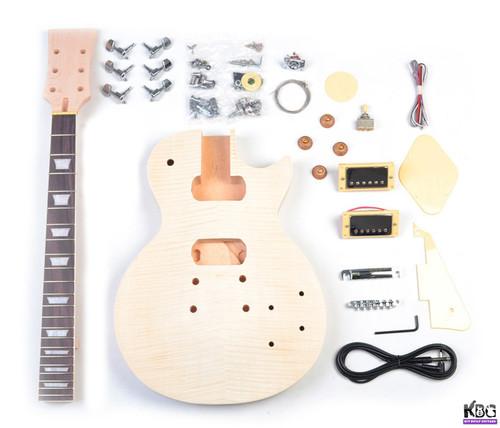DIY LP Build Your Own Guitar Kit Mahogany Body Flamed Maple KBG-LP-MT