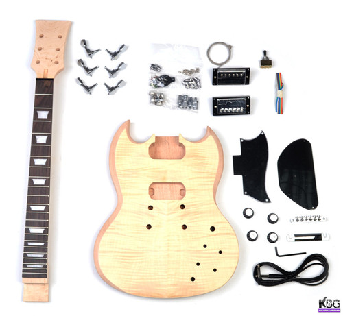 DIY SG Style Mahogany and Flamed Maple Build Your Own Guitar Kit KBG-SG-MMT