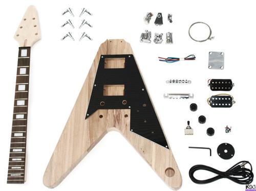 DIY V Style Style Build Your Own Guitar Kit Ash Wood Body KBG-FLV