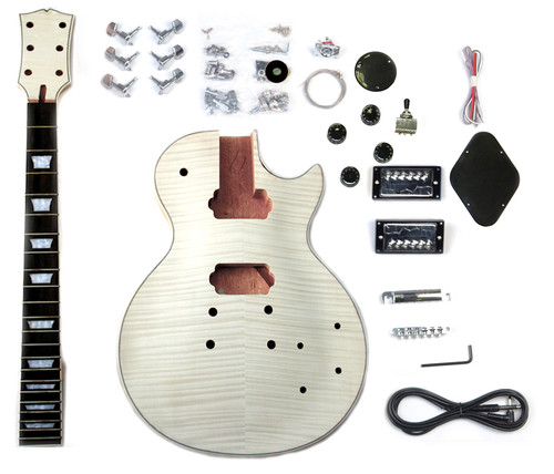 DIY LP Build Your Own Guitar Kit Mahogany Body Flamed Maple KBG-LPS-MT