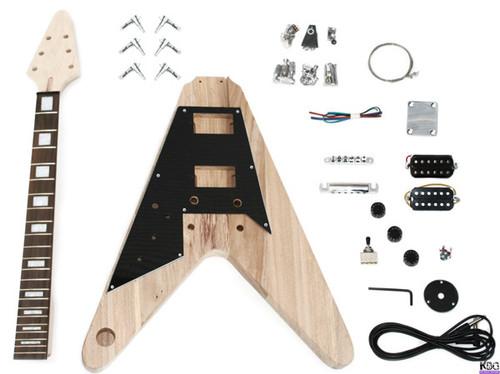 DIY Left Handed V Style Style Build Your Own Guitar Kit Ash Wood Body KBG-FLV