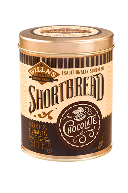 Chocolate Shortbread 8 oz Cylinder Tin