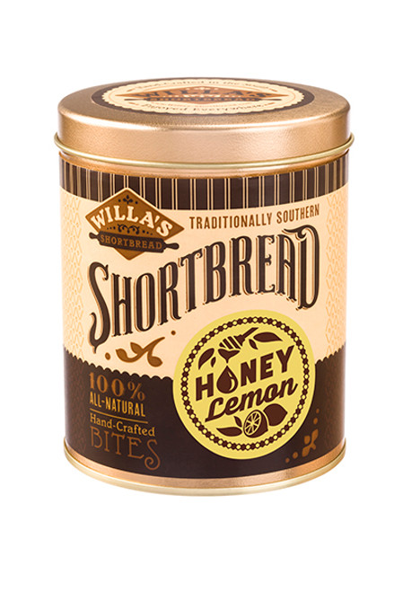 Honey Lemon Shortbread 8 oz Cylinder Tin