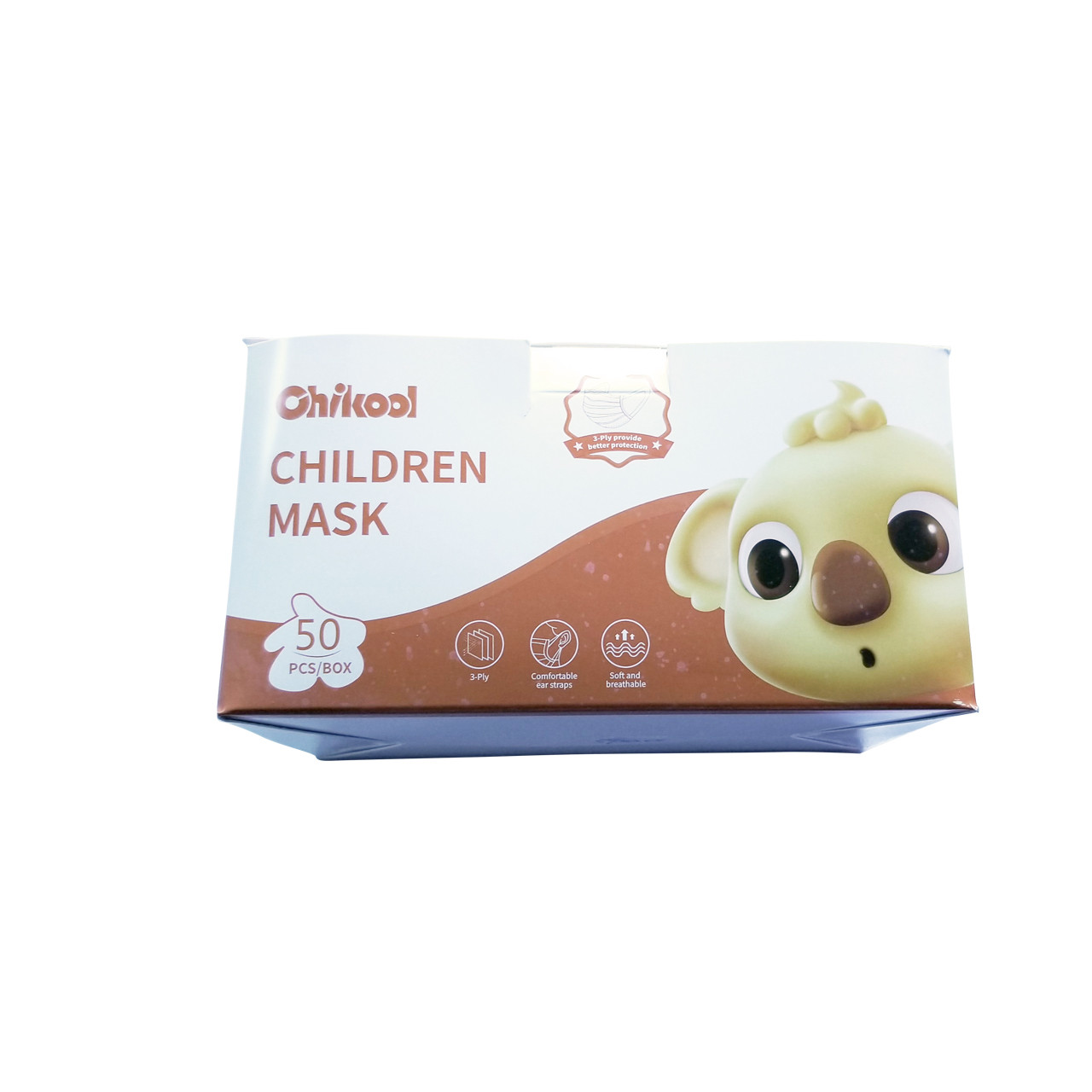 Dinosaur Disposable Children Face Masks Breathable 3 Ply Earloop , Box of 50