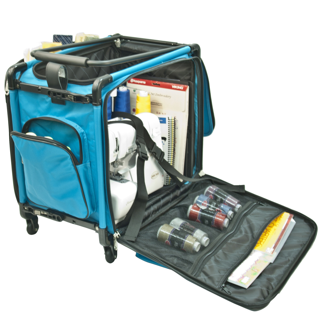 """20"""" Turquoise Serger On Wheels"""