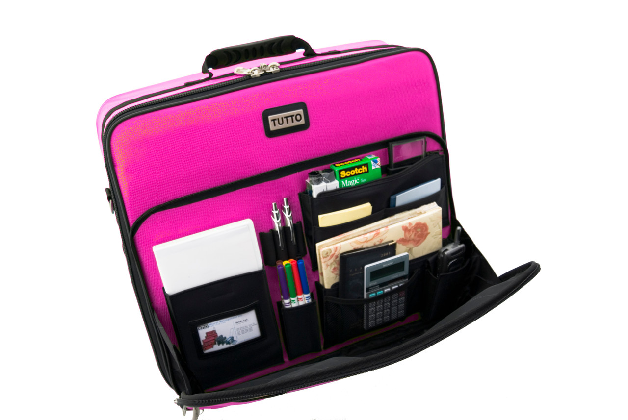 Front compartment has built-in organizer pockets for all your supplies.