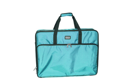 """Refurbished 26"""" Turquoise Embroidery Project Bag"""