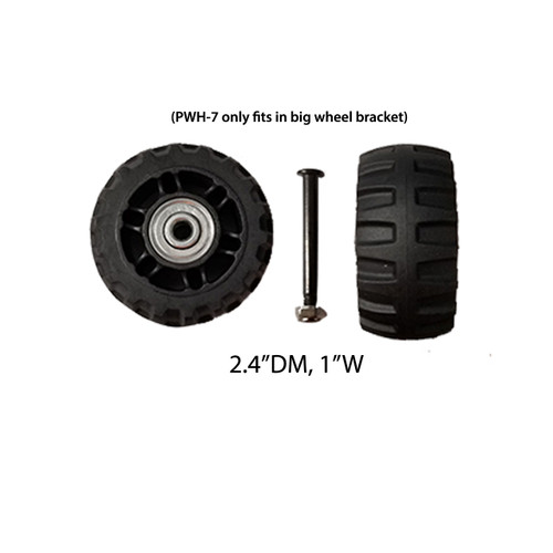 """Front and back wheels - PWH-7 (2.4""""DM/1""""W) / A quantity of 1 is 2 wheels"""