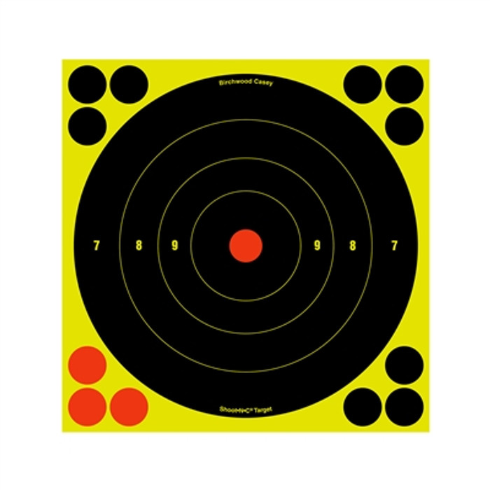 "Birchwood Casey Shoot-N-C Target Round Bullseye 8"" - 6 Targets"