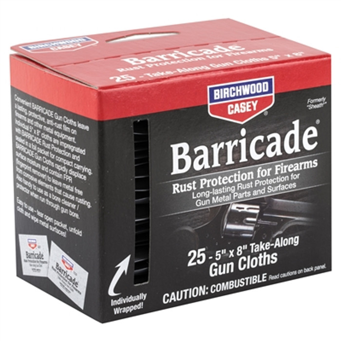 Birchwood Casey Barricade Rust Protection Take-Along Wipes - 25 Wipes