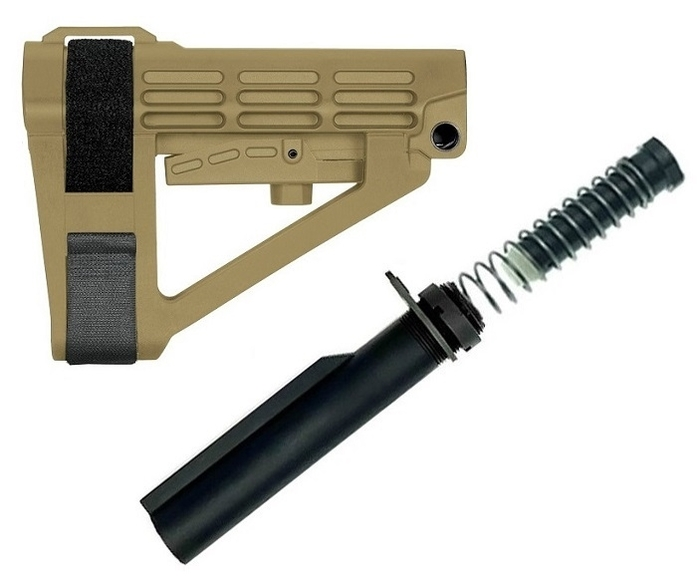 SB Tactical SBA4 Adjustable Pistol Brace + TS Buffer Tube Kit - FDE