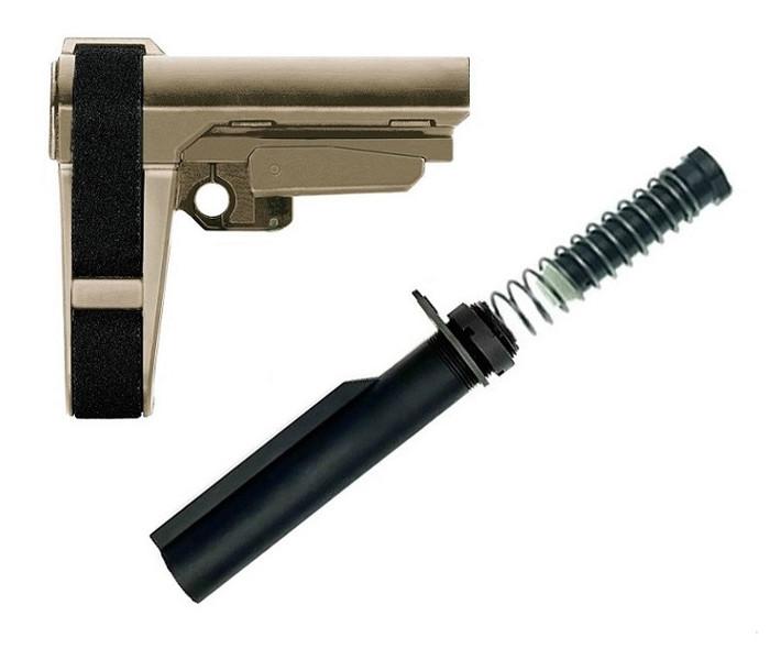 SB Tactical SBA3 Adjustable Pistol Brace + TS Buffer Tube Kit - FDE